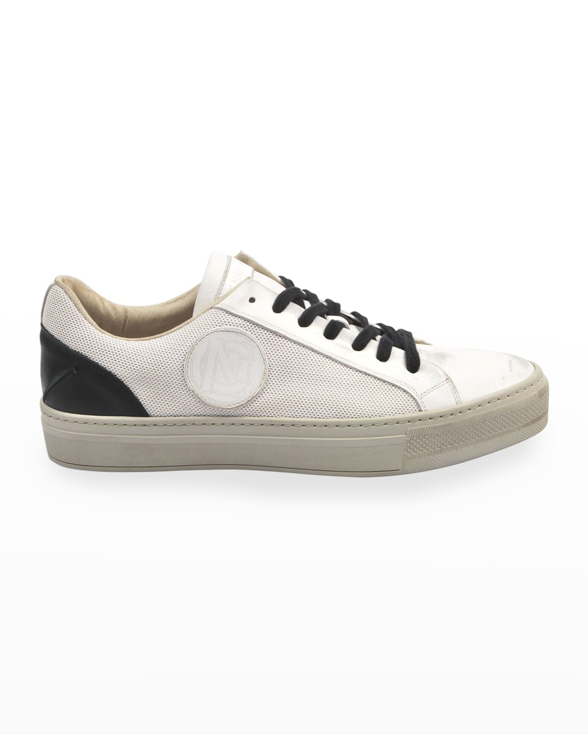 Men's Mesh %26 Two-Tone Leather Logo Sneakers