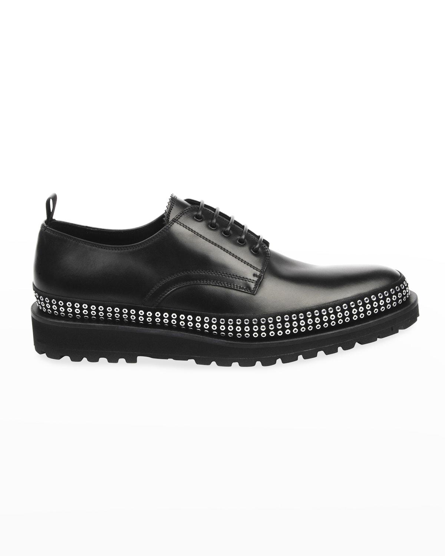 Men's Plain-Toe Studded Leather Derby Shoes