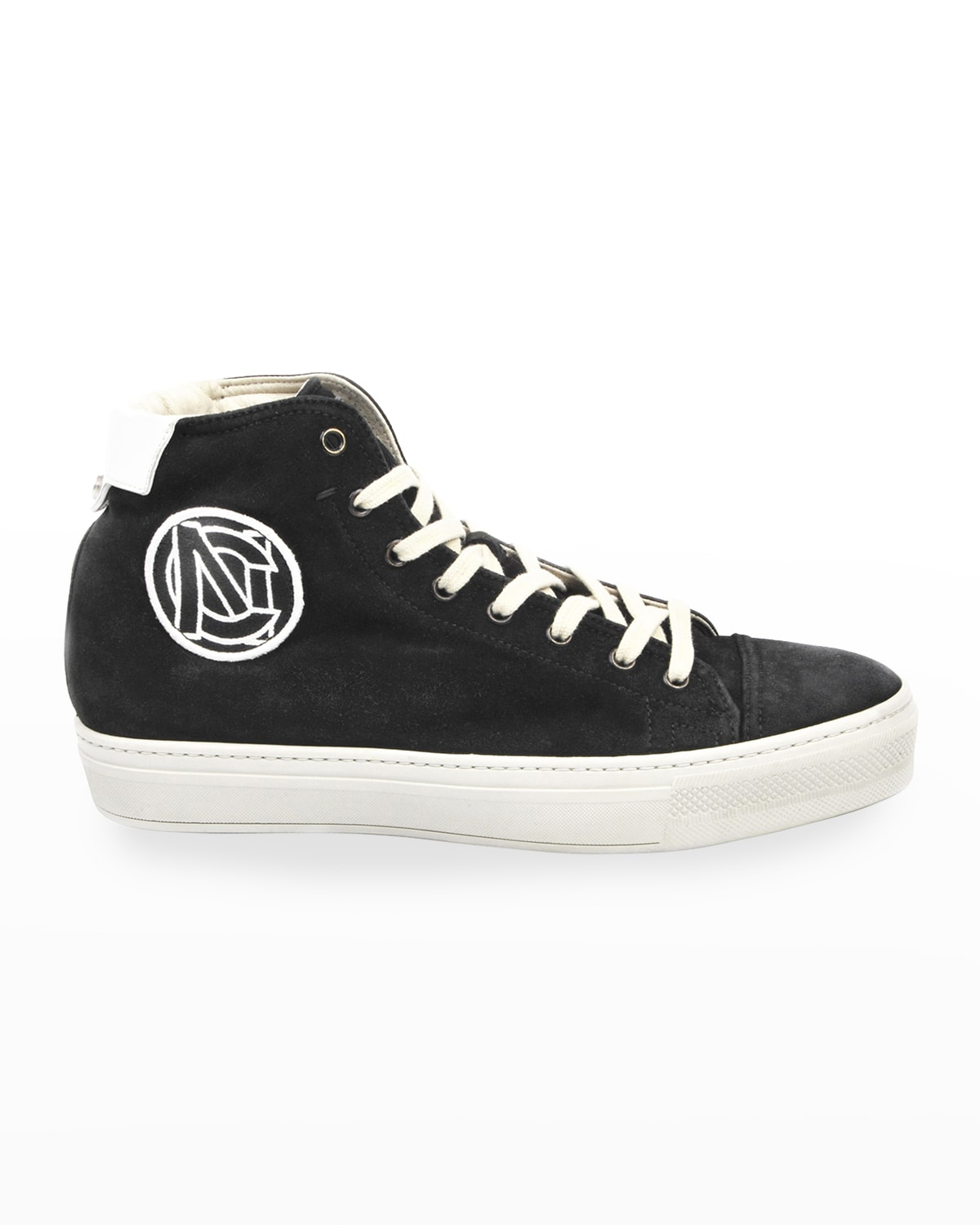 Men's High-Top Suede Sneakers w/ Embroidered Logo