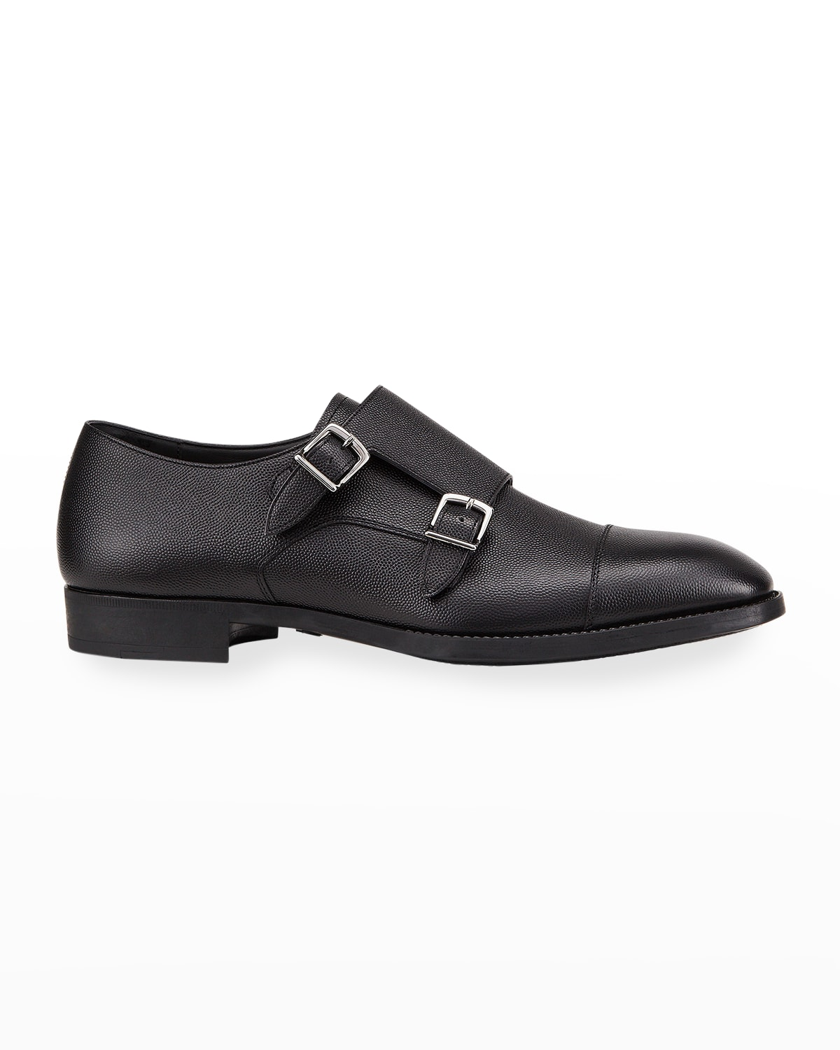 Men's Double-Monk Strap Pebbled Leather Loafers