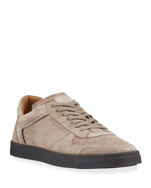 Men's Suede Contrast-Sole Sneakers