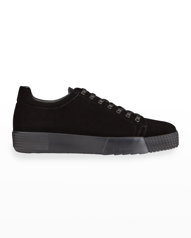 Men's Tonal Velvet Platform Sneakers
