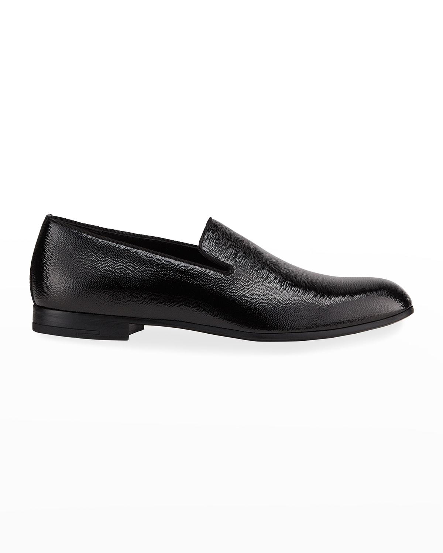 Men's Patent %26 Pebbled Leather Formal Slip-Ons