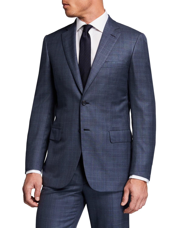 Men's Tonal Plaid Wool Suit