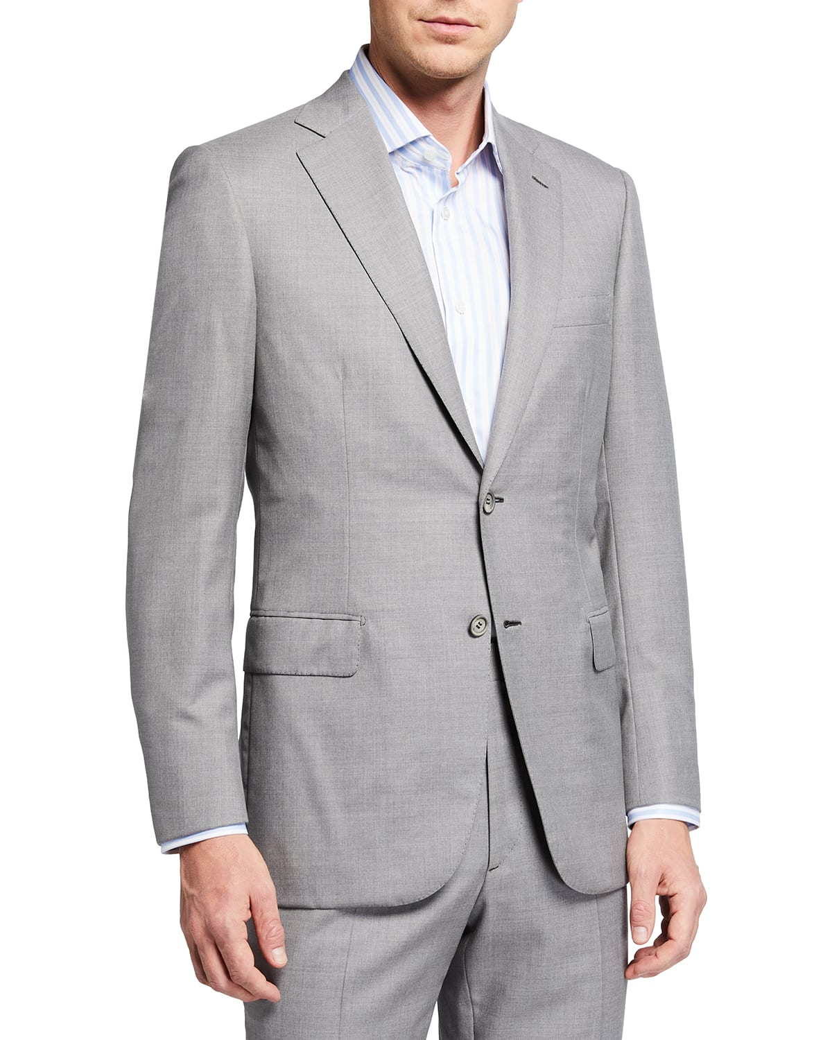 Men's Solid Two-Piece Wool Suit