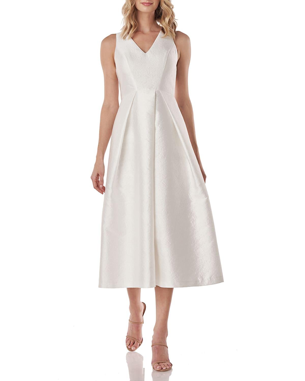 Kay Unger New York Maxime V-Neck Sleeveless Textured Jacquard Dress