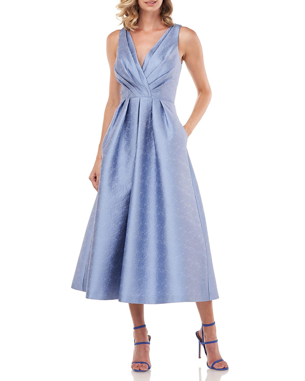 Olivia Textured Jacquard Sleeveless Midi Dress