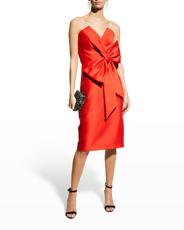 Bustier Cocktail Dress w/ Asymmetric Bow