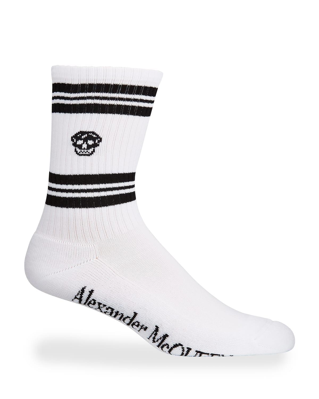 Men's Striped Skull Crew Socks