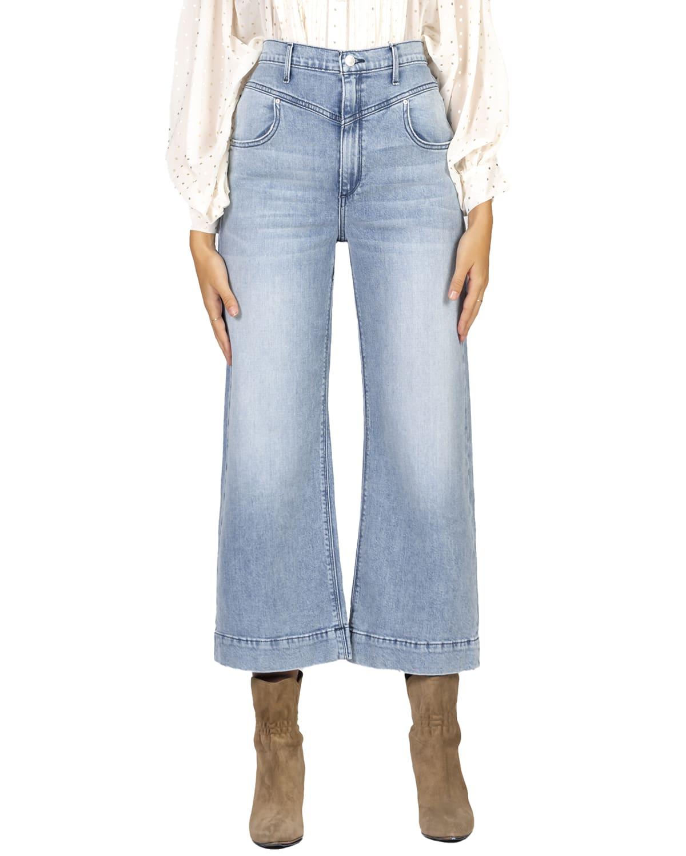 Emma Double-Yoke Wide-Leg Crop Jeans