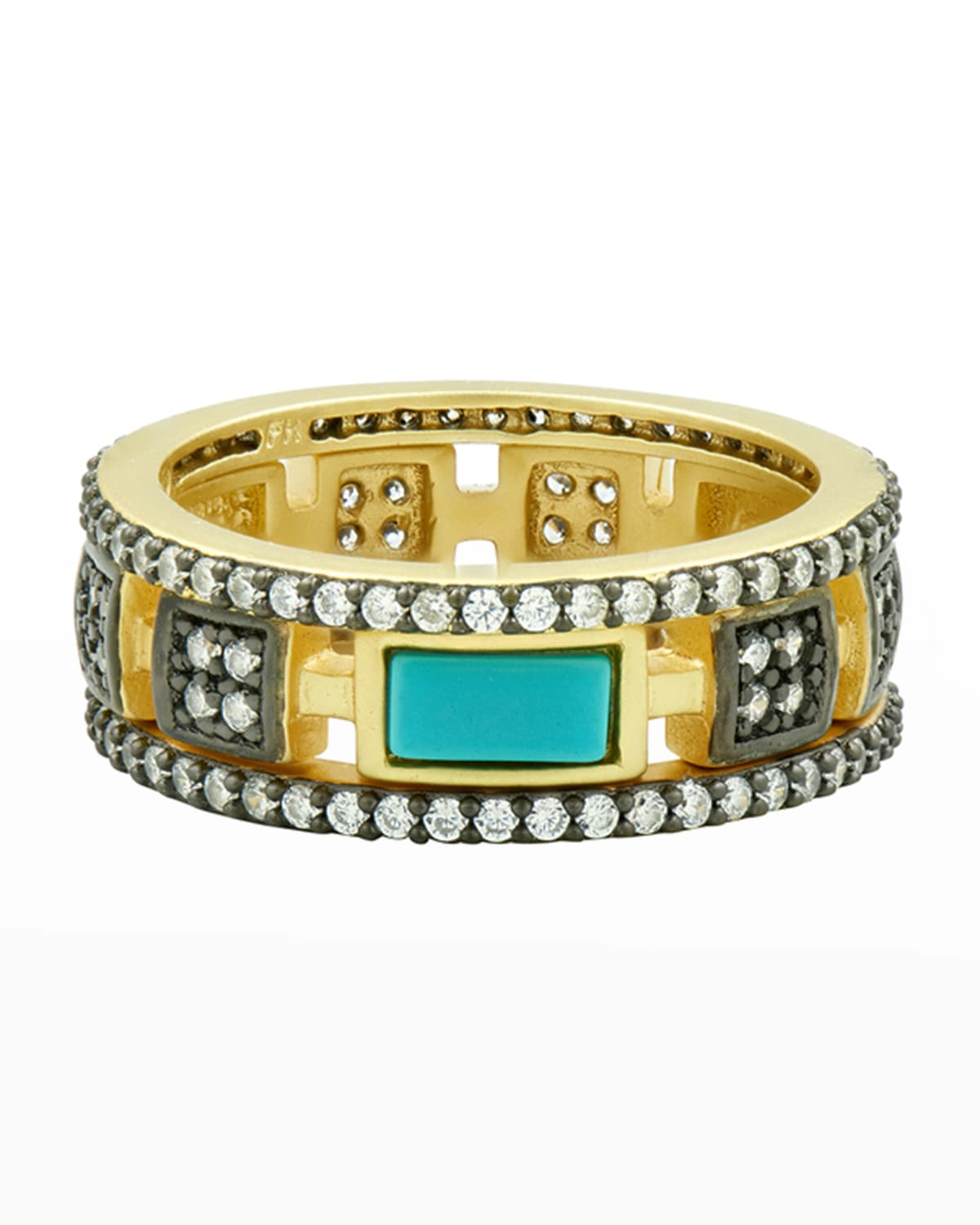 Turquoise and Cubic Zirconia Stack Rings