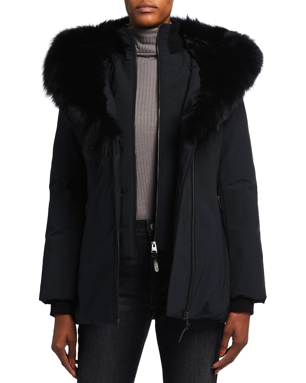 Core Down Coat with Fur Trim and Lining