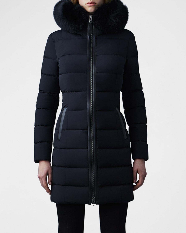 Calla Stretch Lightweight Down Jacket with Fur Ruff