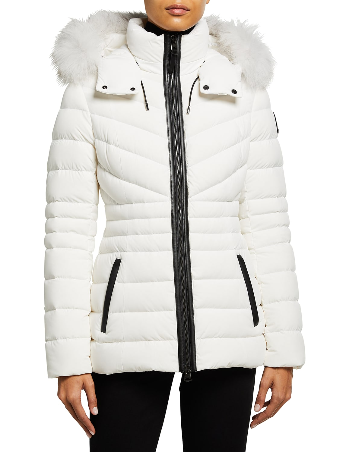 Pasty Lightweight Down Stretch Coat with Fur Ruff