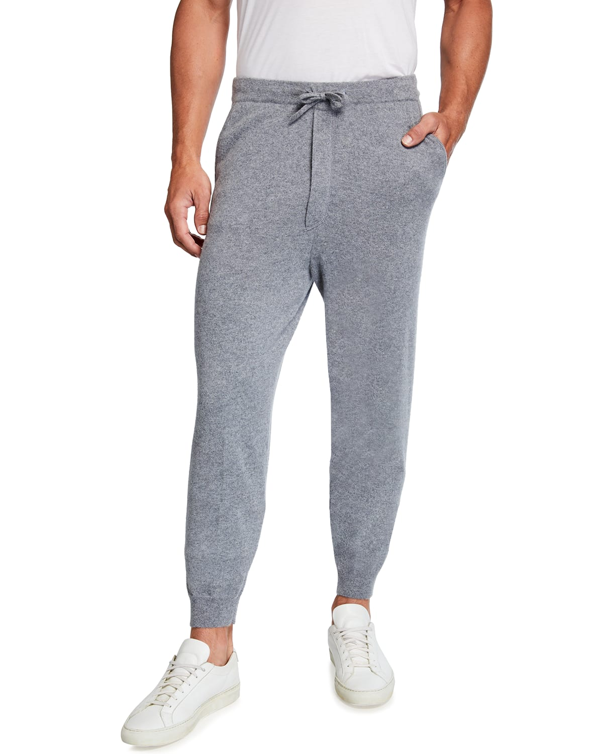 Men's Recycled Cashmere Banded Drawstring Jogger Pants
