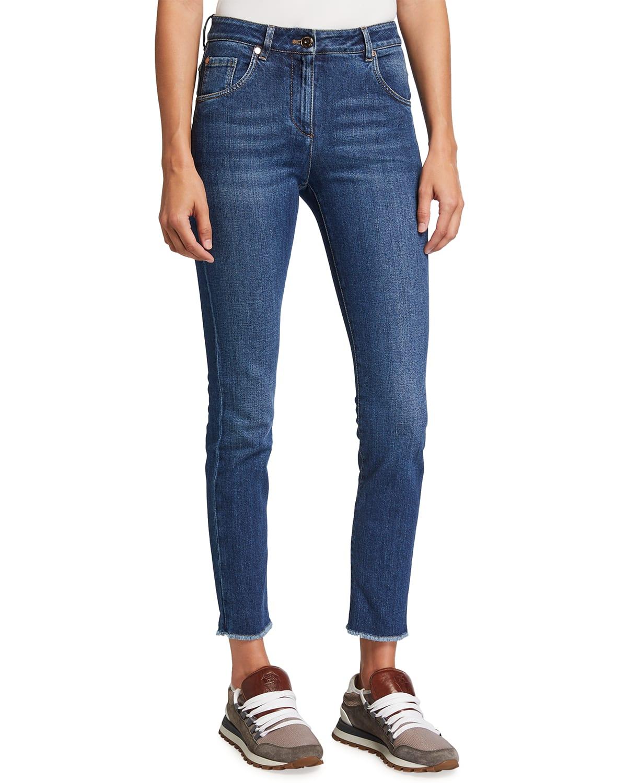 Skinny Raw-Edge Denim Jeans