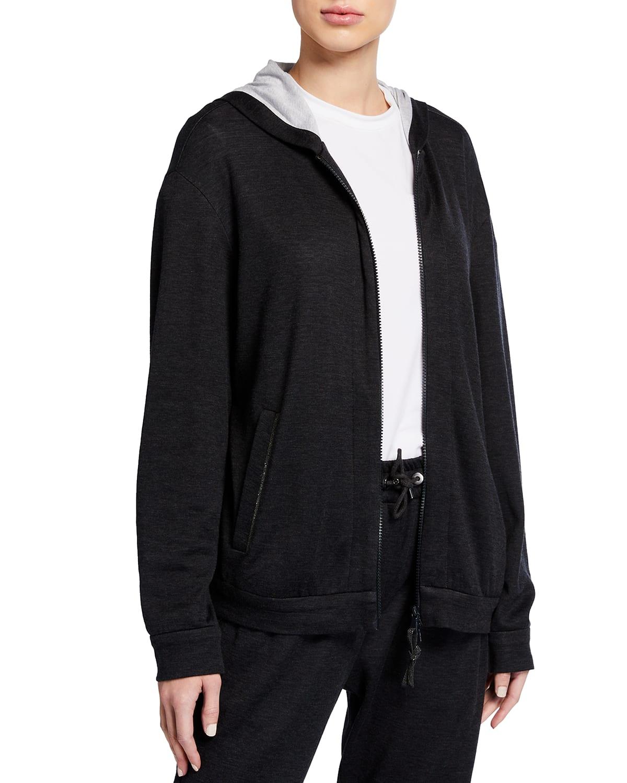 Cotton-Silk Hooded Track Jacket with Monili Trim