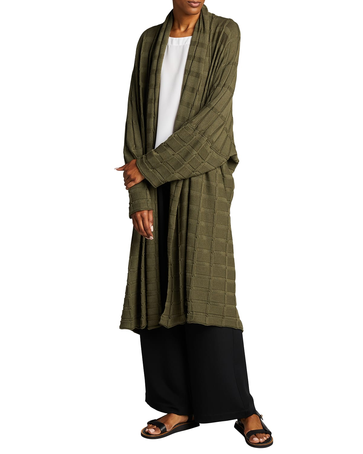 Wide Square Cashmere Duster Cardigan