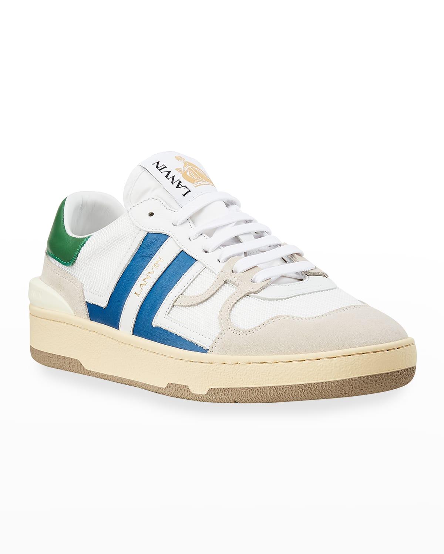 Men's Clay Mesh %26 Leather Low-Top Tennis Sneakers