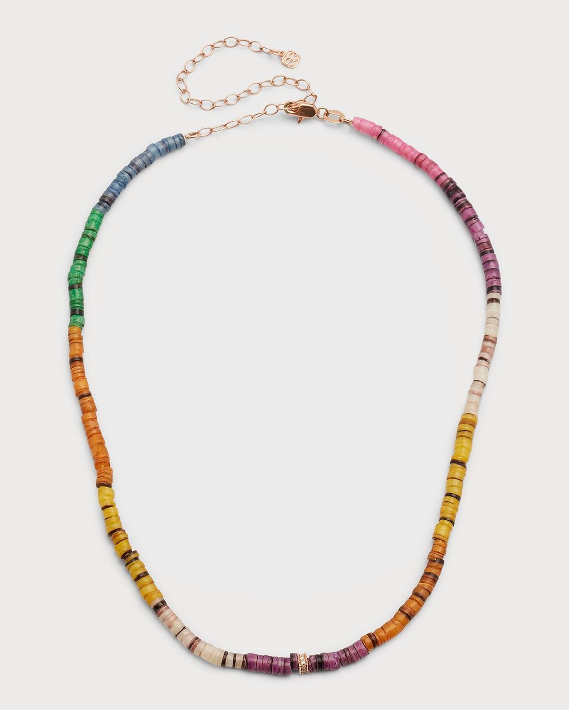 Heishi Bead Diamond-Center Necklace