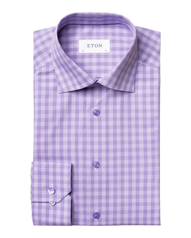 Men's Contemporary-Fit Check Cotton Dress Shirt