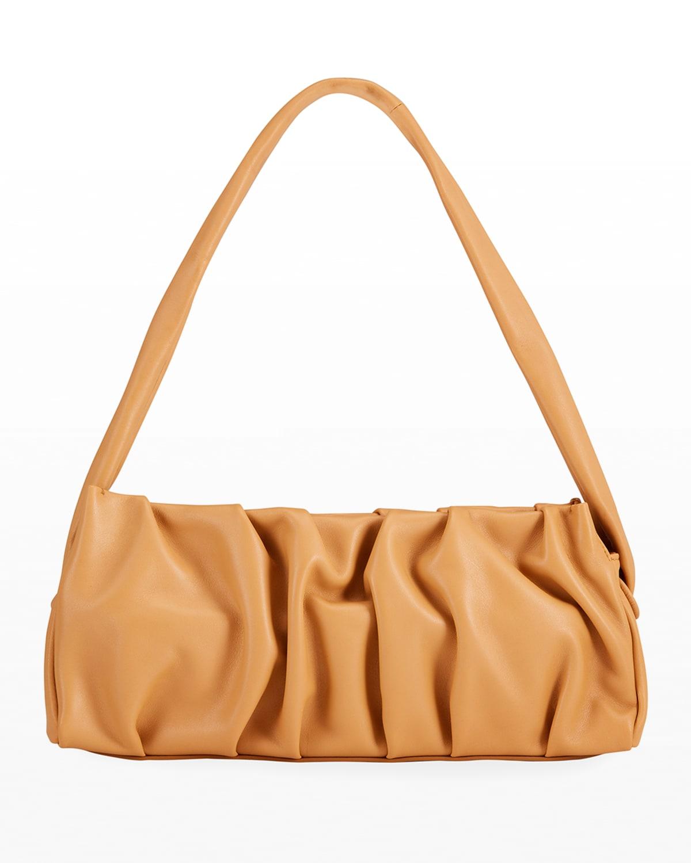 Long Vague Lambskin Pleated Shoulder Bag