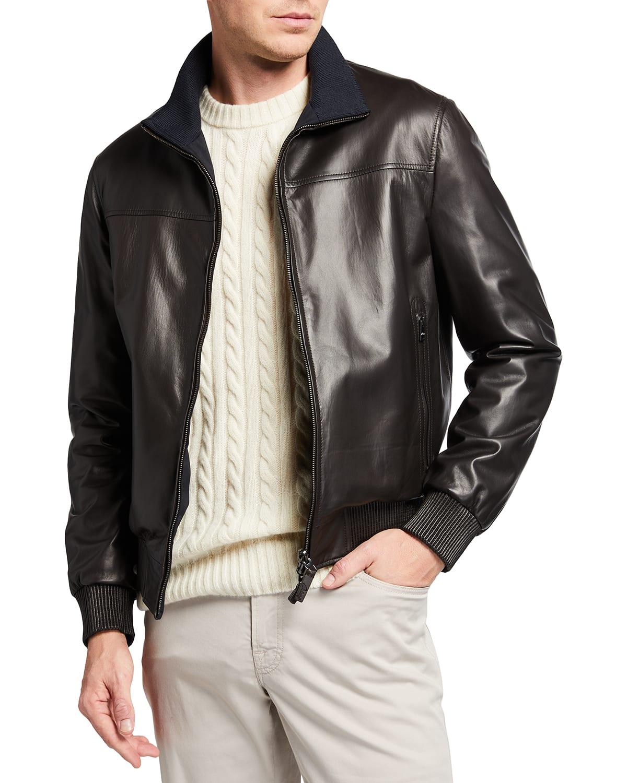 Men's Leather Reversible Zip-Front Jacket
