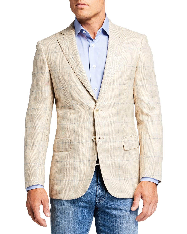 Men's Plaid Windowpane Sport Jacket