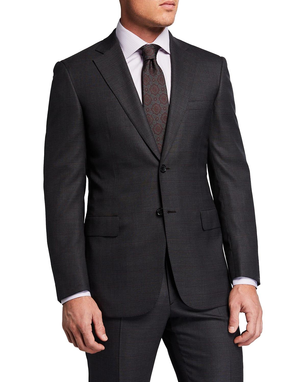 Men's Plaid Super 150s Wool Two-Piece Suit