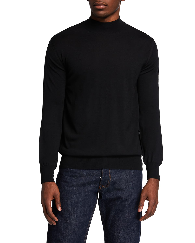 Men's Solid Mock-Neck Wool Sweater