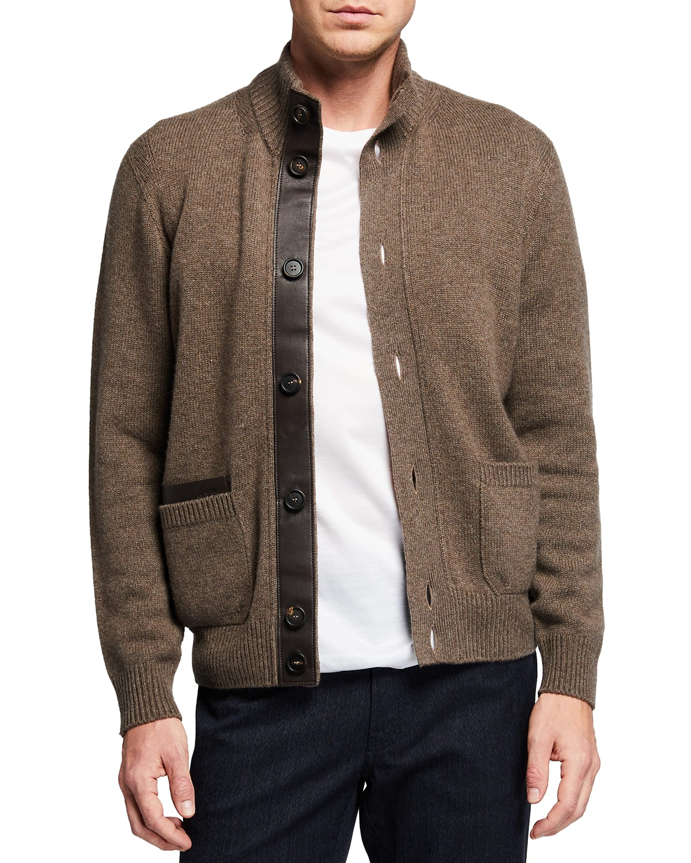 Men's Cashmere & Leather Cardigan Sweater