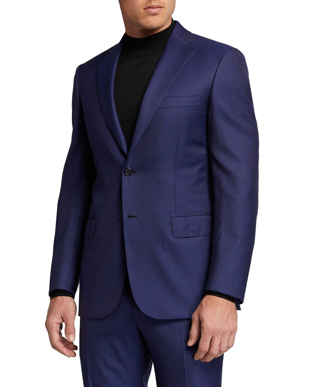 Men's Narrow-Stripe 160s Wool Suit