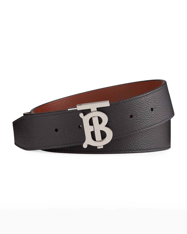 Men's TB Plaque Leather Belt