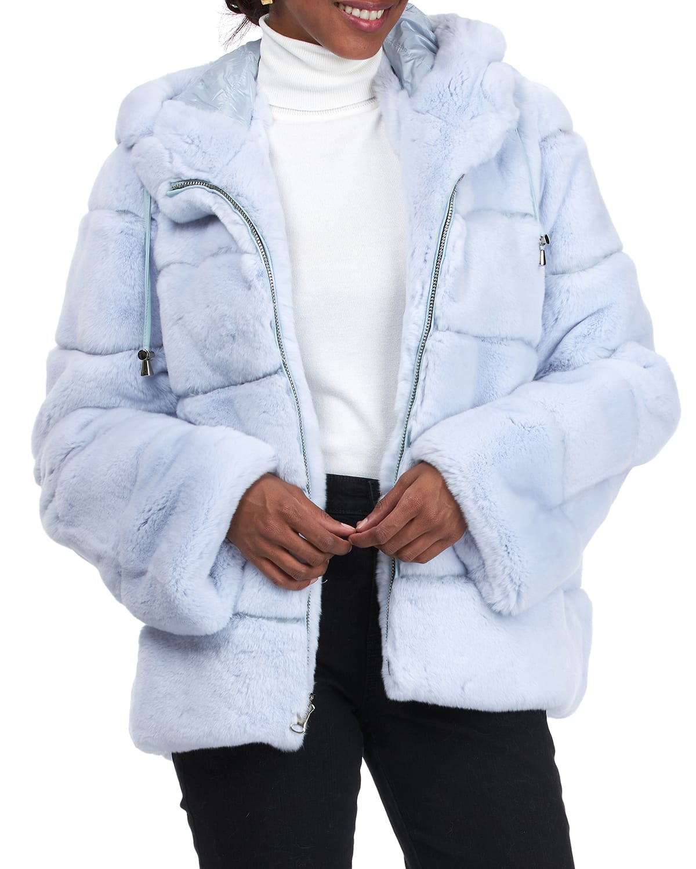 Reversible Horizontal Rex Rabbit & Down Hooded Jacket