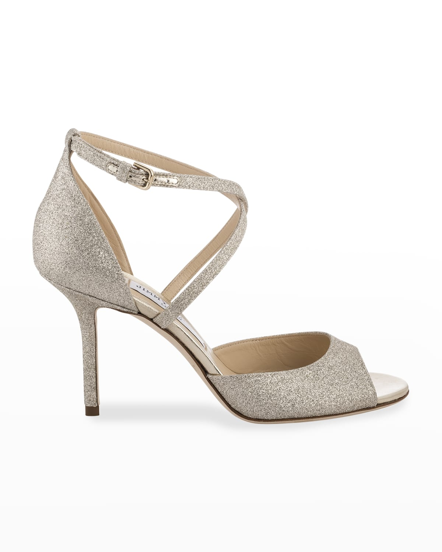 Emsy Glitter Crisscross Cocktail High-Heel Sandals