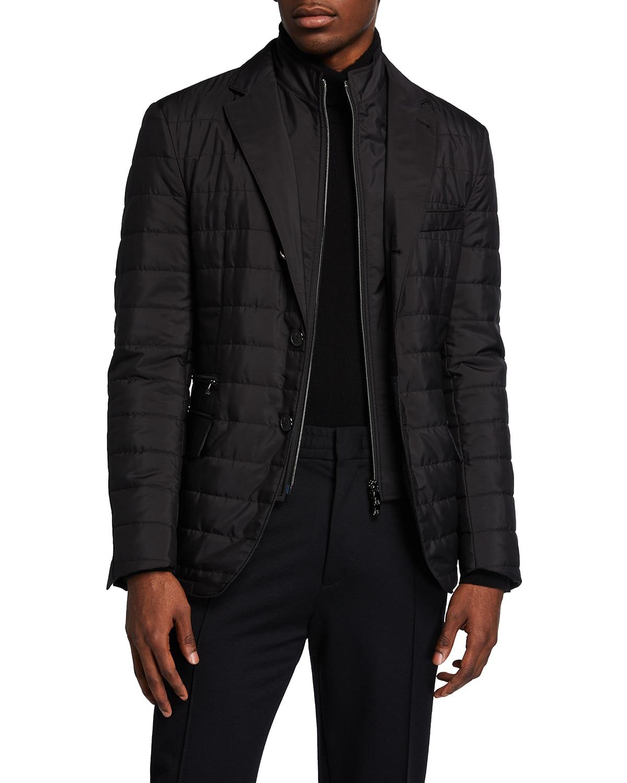 Men's Quilted Travel Blazer w/ Zip-Front Bib
