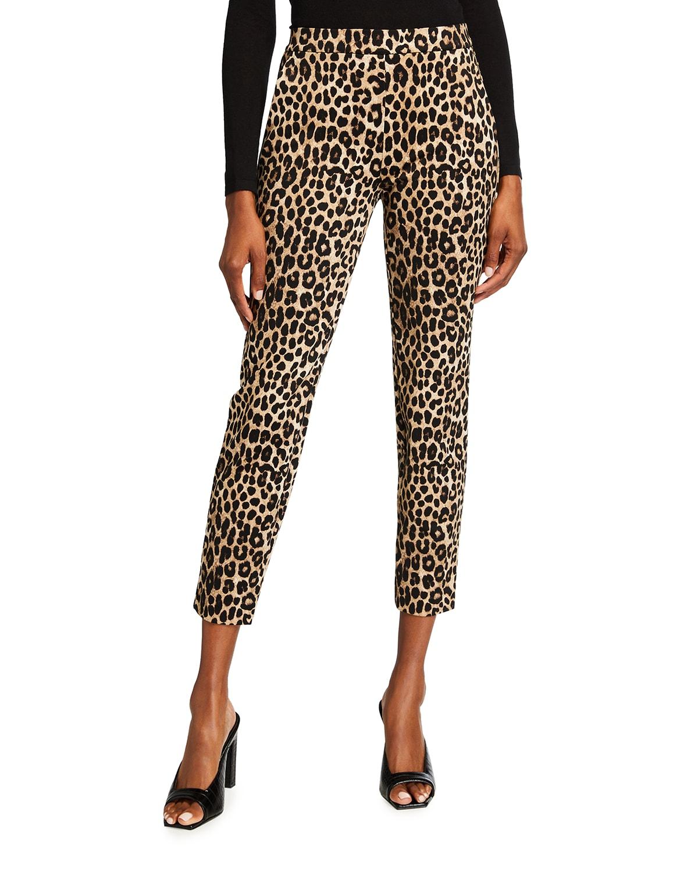 Cheetah Print Skinny Ponte Trousers