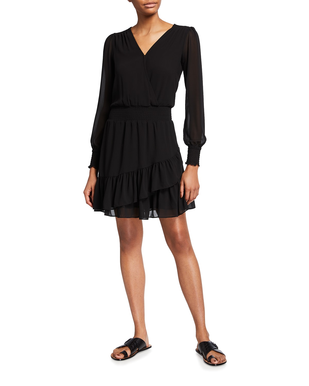 Smocked-Waist Solid Ruffle Dress