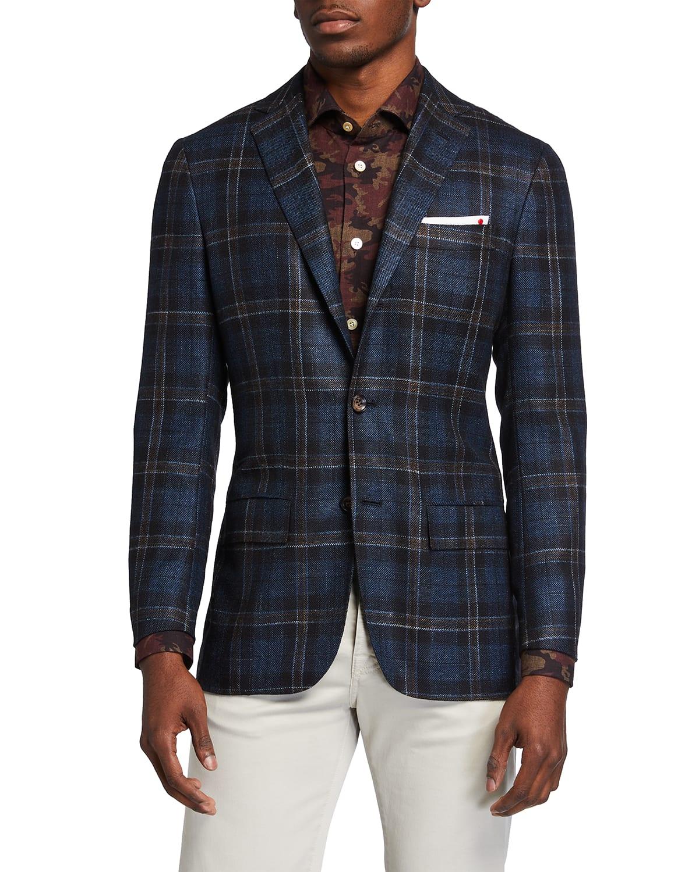 Men's Large Windowpane Sport Jacket