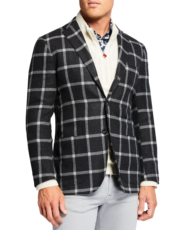 Men's Exploded Windowpane Cashmere Sport Jacket