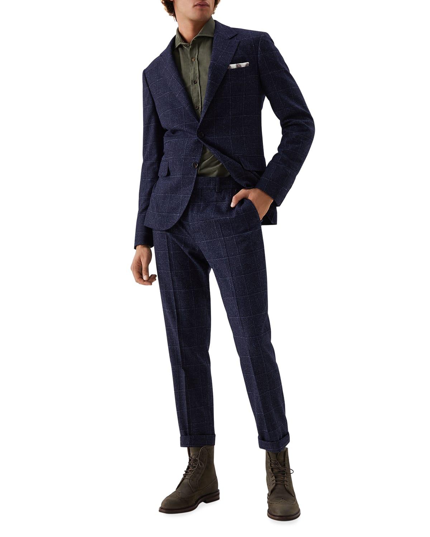 Men's Windowpane Check Two-Piece Suit