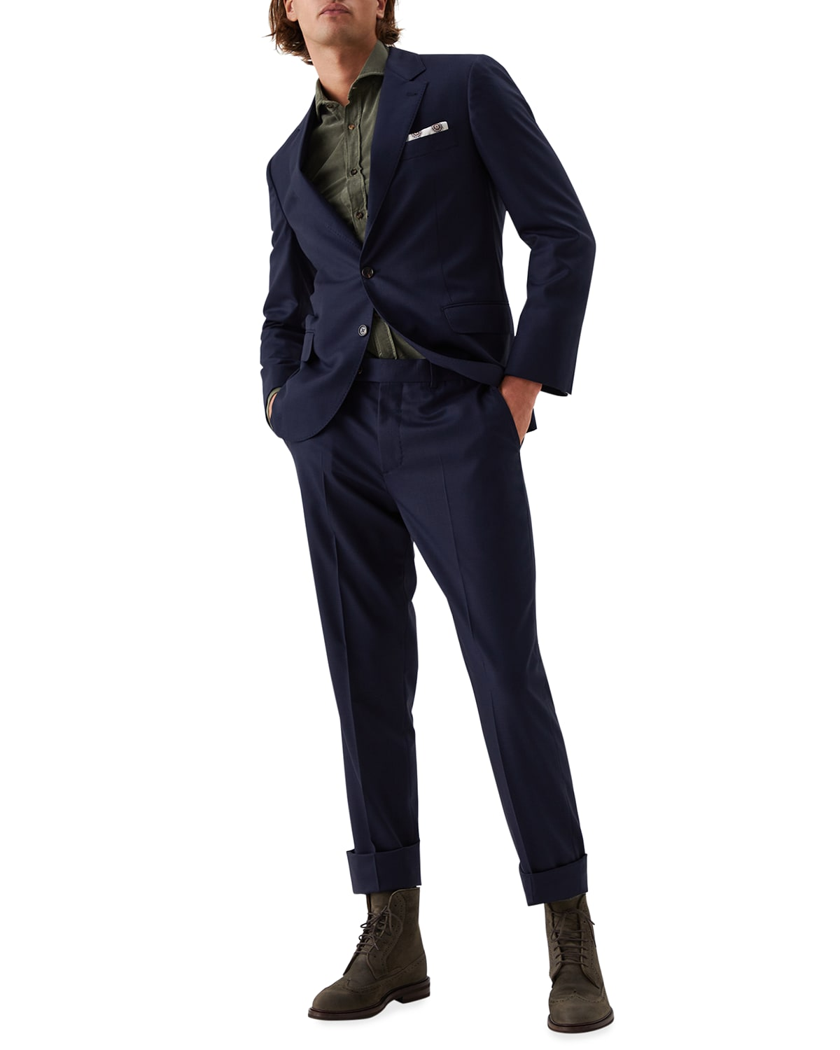 Men's Houndstooth Wool Two-Piece Suit