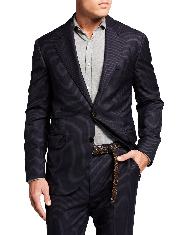 Men's Chalk Stripe Super 150s Wool Suit