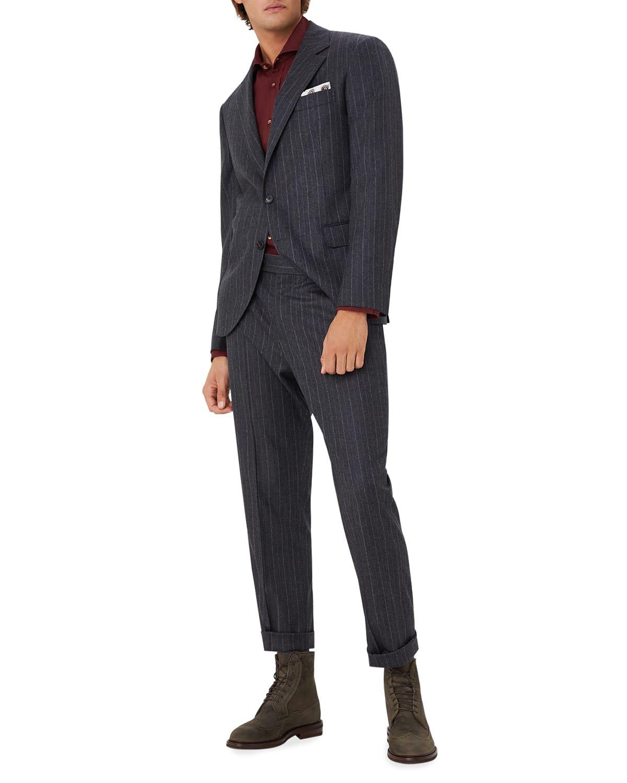 Men's Flannel Chalk-Stripe Wool Suit