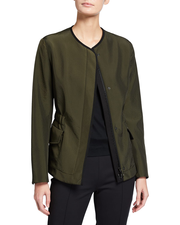 Long-Sleeve Seersucker Cotton-Blend Jacket