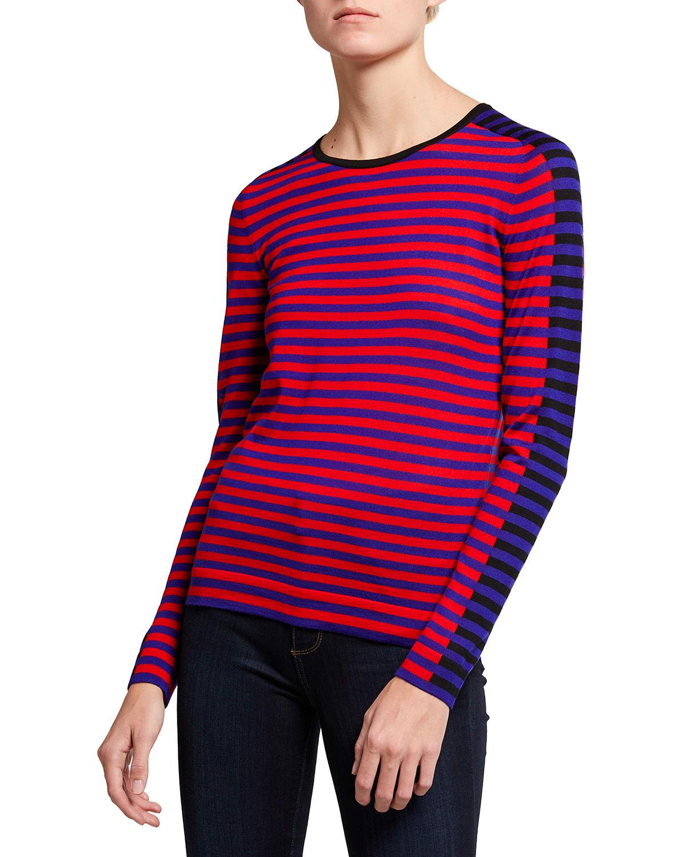 Colorblock Striped Wool Sweater