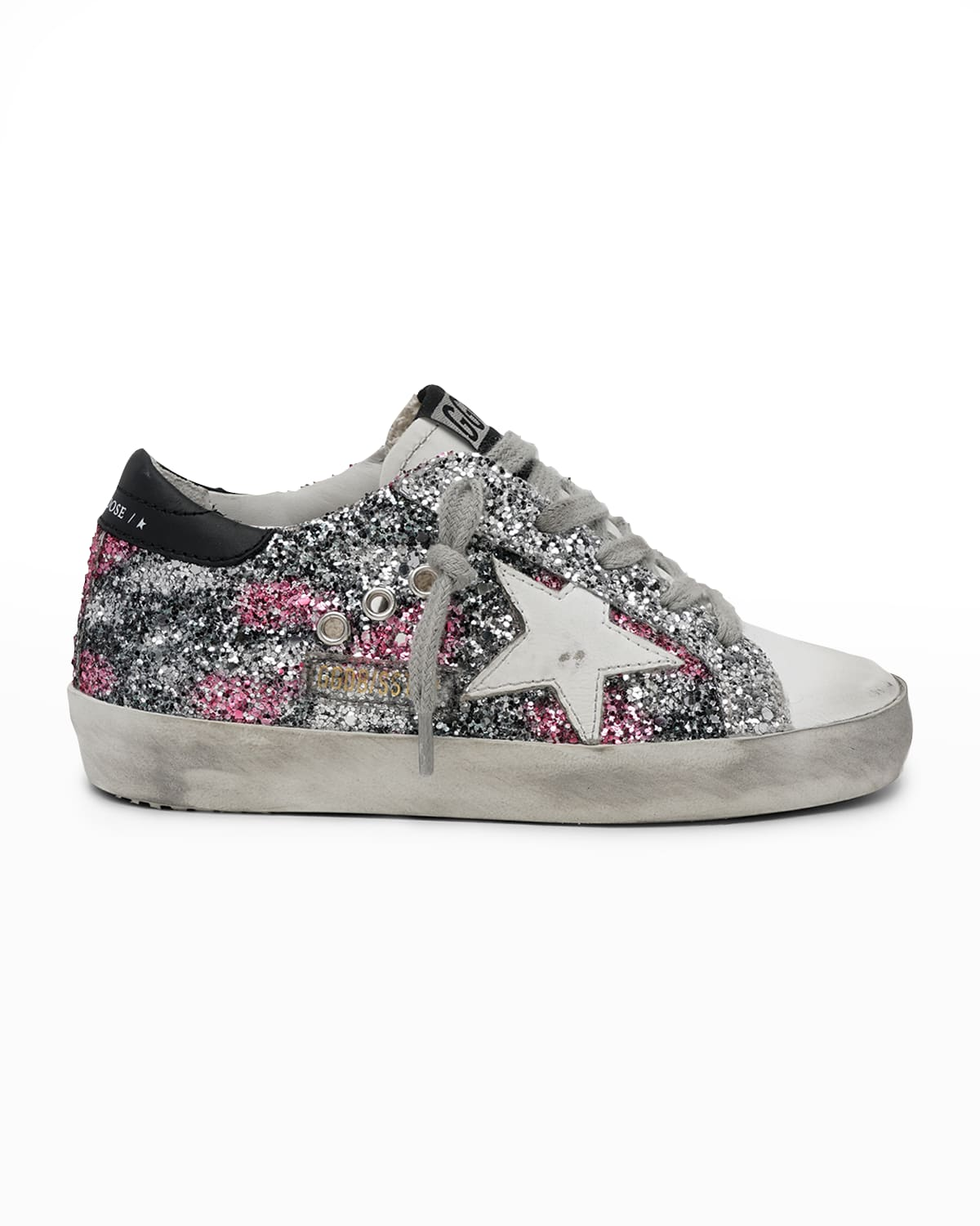 Girl's Superstar Glitter & Leather Low-Top Sneakers