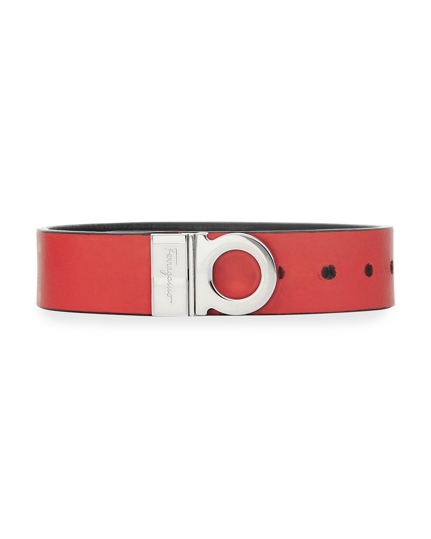 Men's Gancio Double-Face Leather Bracelet