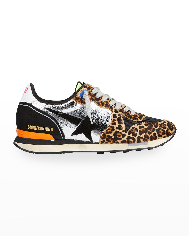 Men's Running Metallic Leopard-Print Sneakers