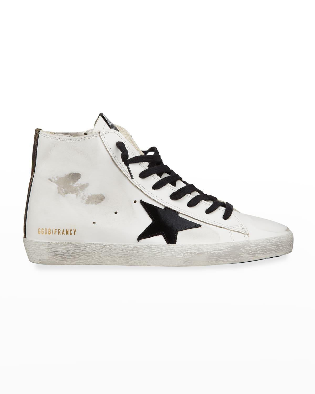 Men's Francy Leather High-Top Sneakers w/ Camo-Printed Heel